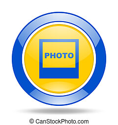 photo blue and yellow web glossy round icon