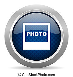 photo blue circle glossy web icon on white background, round button for internet and mobile app