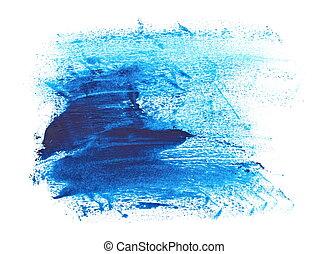 photo blue grunge brush strokes oil paint isolated on white background
