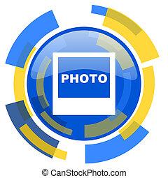 photo blue yellow glossy web icon