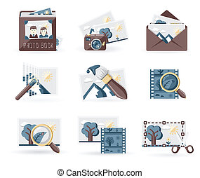 Photo Book icons set