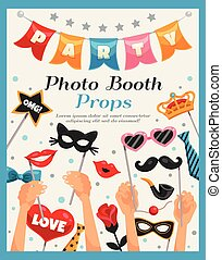 Photo Booth Party Props Poster - Colored photo booth party...