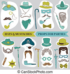 Photo Booth Party set - Glasses, hats, lips, mustache, masks...