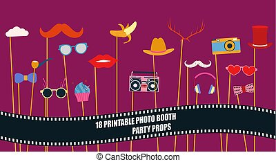 Photo booth props collection vector illustration - Photo...