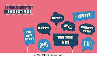 Photo booth props set vector illustration