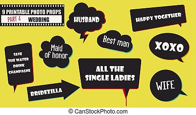 Photo booth props vector elements for wedding or engagement party