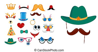 Photo booth, scrapbooking props icon set vector illustration.