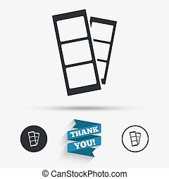 Photo booth strips sign icon. Photo frame template symbol....