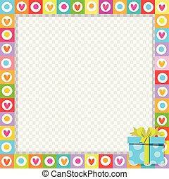 photo border made of cute hearts with blue wrapped gift box in corner.