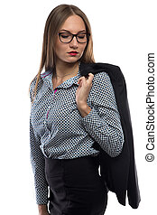 Photo business woman in glasses looking down