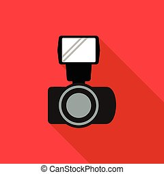 Photo camera and flash icon, flat style