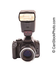 Photo camera and flash isolated on white background