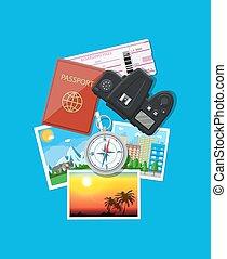 Photo camera and photos, travel concept