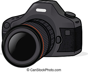 Photo Camera - Black dslr photo camera vector illustration