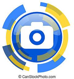 photo camera blue yellow glossy web icon
