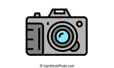 photo camera device animated color icon. photo camera device sign. isolated on white background
