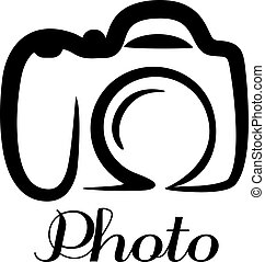 Photo camera poster or emblem with a black and white stylized doodle sketch of a digital camera with the word - Photo - below