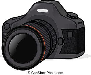 Photo Camera - Black dslr photo camera vector illustration
