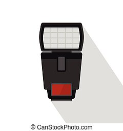 Photo camera flash icon, flat style