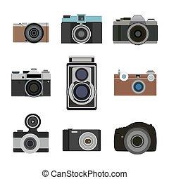 Photo camera flat icons set. Retro photography equipment. Cameras lens vector