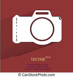 Photo camera. Flat modern web button with long shadow and space for your text