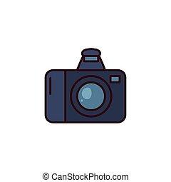 photo camera flat on white background