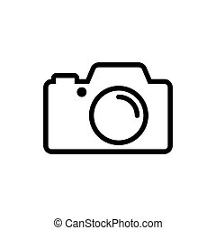 Photo camera flat sign icon vector illustration.