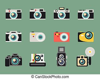 Photo camera flat vector icons