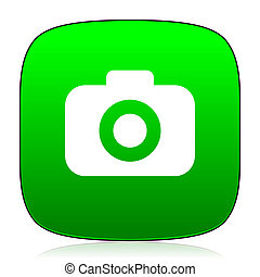 photo camera green icon for web and mobile app