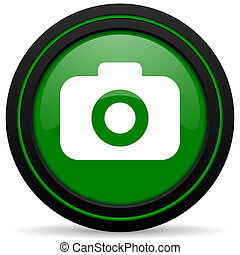 photo camera green icon photography sign