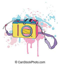 Photo Camera. Hand drawn Vector Illustration.