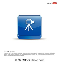 Photo camera icon - 3d Blue Button