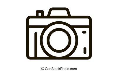 Photo Camera Icon Animation. black Photo Camera animated icon on white background