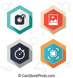 Photo camera icon. Autofocus zone and Landscape.