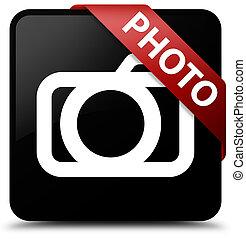 Photo (camera icon) black square button red ribbon in corner