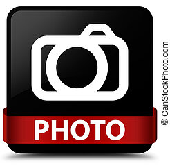 Photo (camera icon) black square button red ribbon in middle