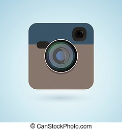 Photo camera icon blue color