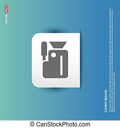 Photo camera icon - Blue Sticker button