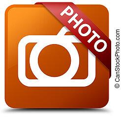 Photo (camera icon) brown square button red ribbon in corner