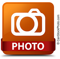 Photo (camera icon) brown square button red ribbon in middle