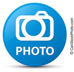 Photo (camera icon) cyan blue round button