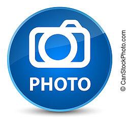 Photo (camera icon) elegant blue round button