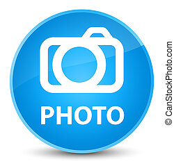 Photo (camera icon) elegant cyan blue round button