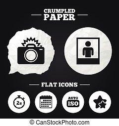 Photo camera icon. Flash light and Auto ISO.