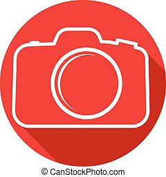 Photo camera icon . Flat design style .