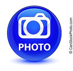 Photo (camera icon) glassy blue round button