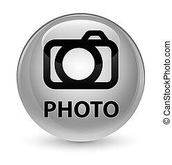 Photo (camera icon) glassy white round button