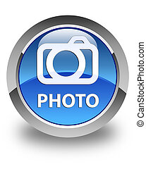 Photo (camera icon) glossy blue round button