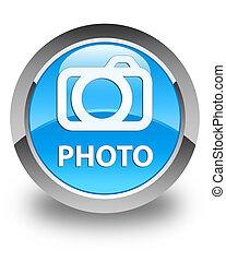 Photo (camera icon) glossy cyan blue round button