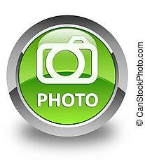Photo (camera icon) glossy green round button